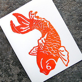 koi fish card :  note cards blank card block printed handmade